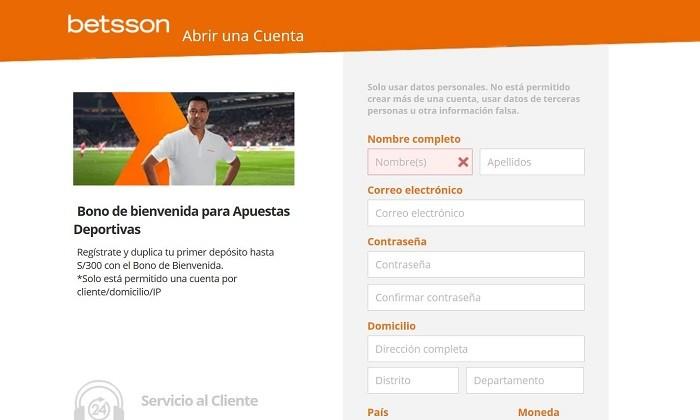 Betsson registro en Peru